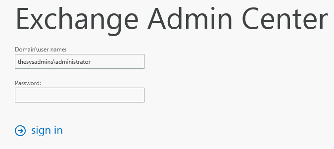 Exchange 2013 Admin console