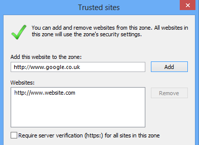 Trusted Sites Not Grayed Out