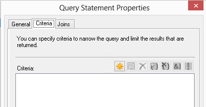 Select new query on the criteria tab