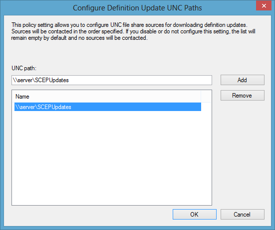 Configure Definition Update UNC Paths