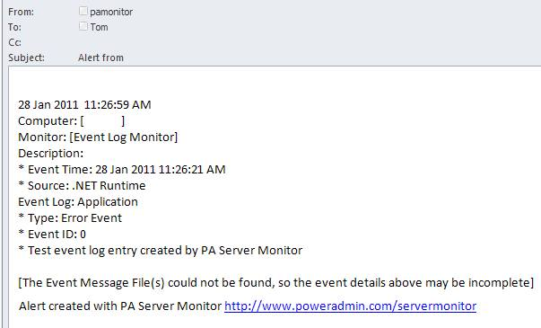 PA Monitor Example Email